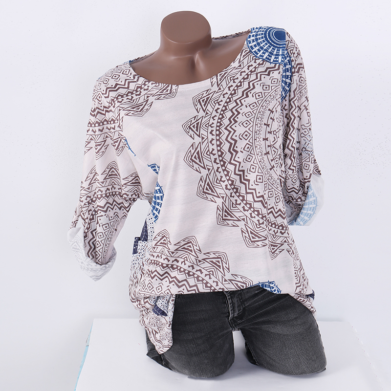 Women Tops and Blouses Long Sleeve Shirts O Neck 2018 Autumn Vintage Casual Loose Work Office Ladies Blusas Print Tee Plus Size