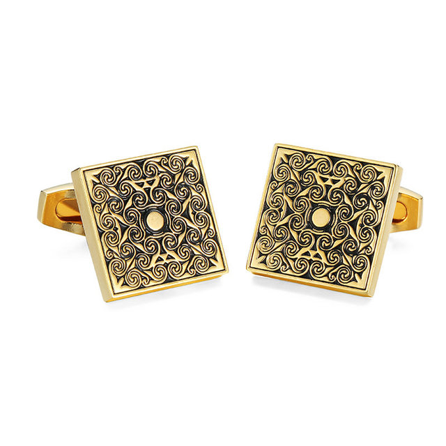 Delivery High Copper Material Cuff Links Fashionable Gold Carving Rose Pattern Cufflinks Men's