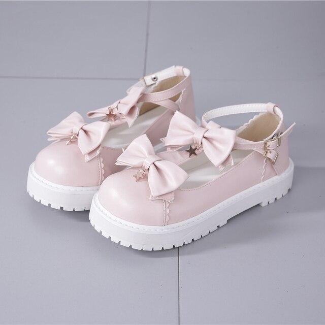 Primavera ulzzang harajuku lolita sapatos 2019 verão sapato kawaii coreano moda doce arco estrela pingente amigos cosplay mulheres sapatos