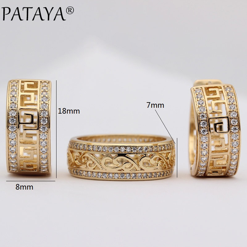 PATAYA New 585 Rose Gold Exquisite Hollow Natural Zircon Dangle Earrings Rings Sets Women Wedding Luxury Party Jewelry Set Gift
