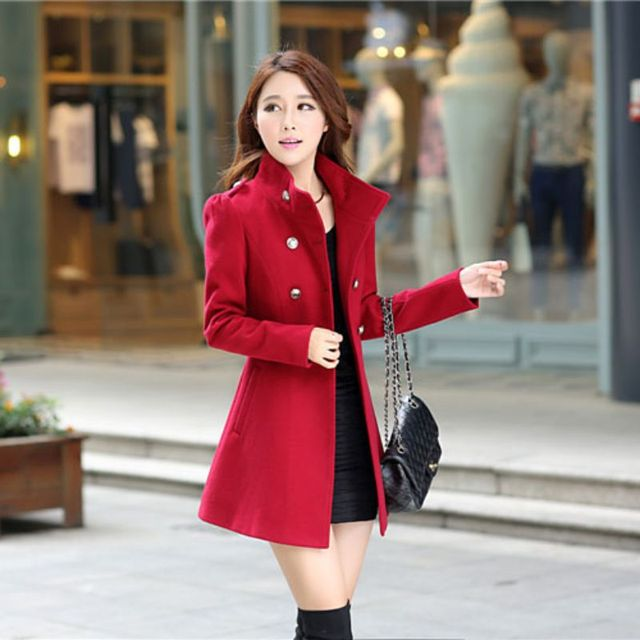 02ebfe53019b Double Breasted Stand Windbreaker Wool Coat Lady Warm Full Sleeve Outwear  Slim Casual Women Overcoat 2018