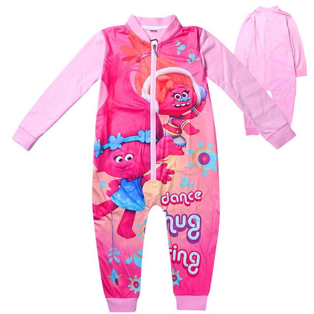 Roupa dos miúdos Meninas Crianças Sleepwear Geral Macacão Macacão Menina da Longo-luva Traje Da Menina para a Primavera Outono