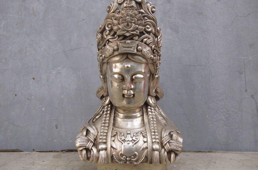 China Buddhism White Bronze Silver Kwan Yin Bodhisattva Buddha head statue Statues & Sculptures     - title=