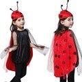 Девушки Fancy Dress Наряд Би Божья Коровка Костюм Хэллоуин Дети детский День Партия Производительности Шоу Костюм Аксессуары