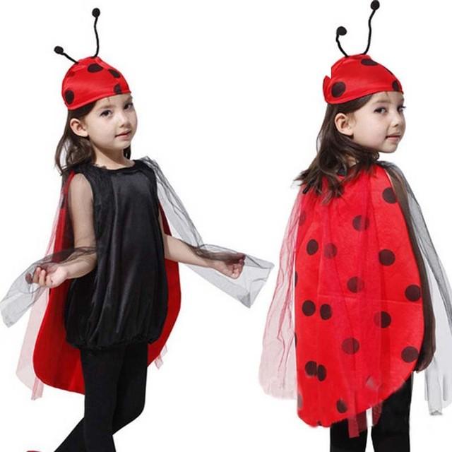 2017 nuevo girls fancy dress outfit abeja mariquita disfraz de halloween del día de los niños del funcionamiento del partido espectáculo de disfraces accesorios