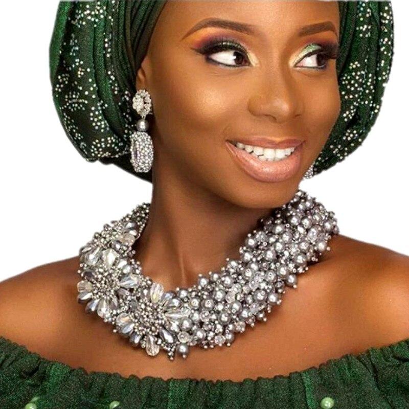 Nouveau Dubai Fine bijoux ensembles argent pour femmes mariée déclaration collier ensemble Bling Costume africain nigérian mariage bijoux ensemble