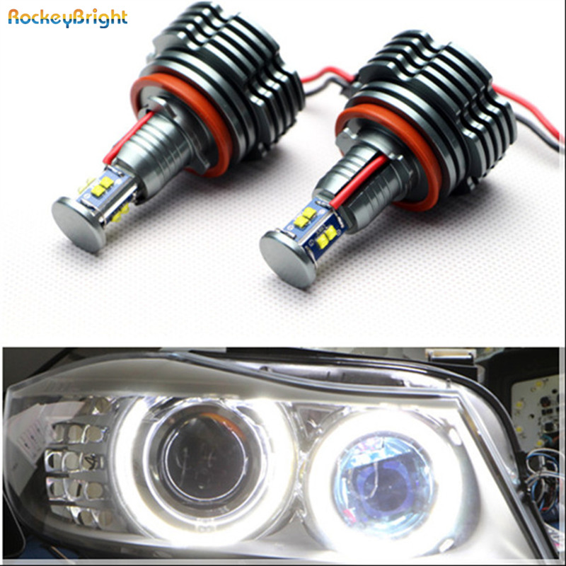 Rockeybright canbus 12V 80W h8 led angel eyes bulb halo ring lights for bmw angel eyes e90 e91 e92 e87 f01 f02 led marker rockeybright 12v 40w bright led marker headlight bulb for bmw e90 e90 lci 7000k white led angel eyes for bmw e90 led headlight