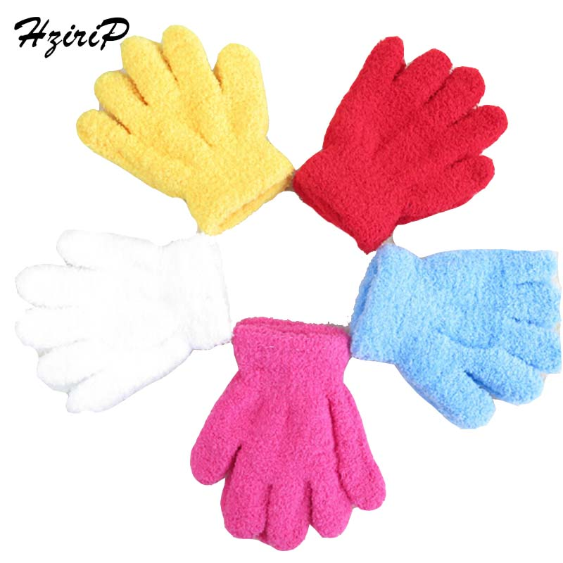 Hot Sale New Winter Children Candy Color Cute Gloves Warm Knitting Coral Cashmere Mitts Solid Colors Unisex Girl Boy Baby Gloves