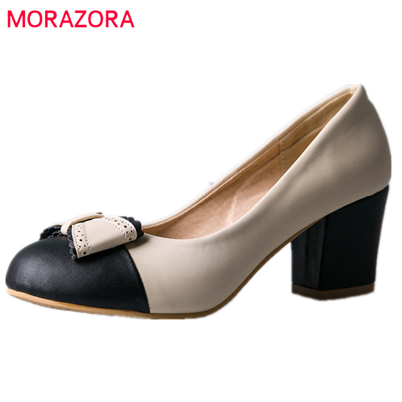 MORAZORA Fashion shoes sweet women pumps shallow round toe high heels shoes 5cm party spring autumn single shoes big size 34-47 morazora fashion 2017 women pumps thick heels platform spring single shoes woman high heels round toe party wedding shoes