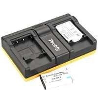 Probty 2pcs NP-BY1 NP BY1 Camera Battery + USB Dual Charger  For SONY HDR-AZ1VR AZ1AZ1 V AZ1 Video Camera DVVR