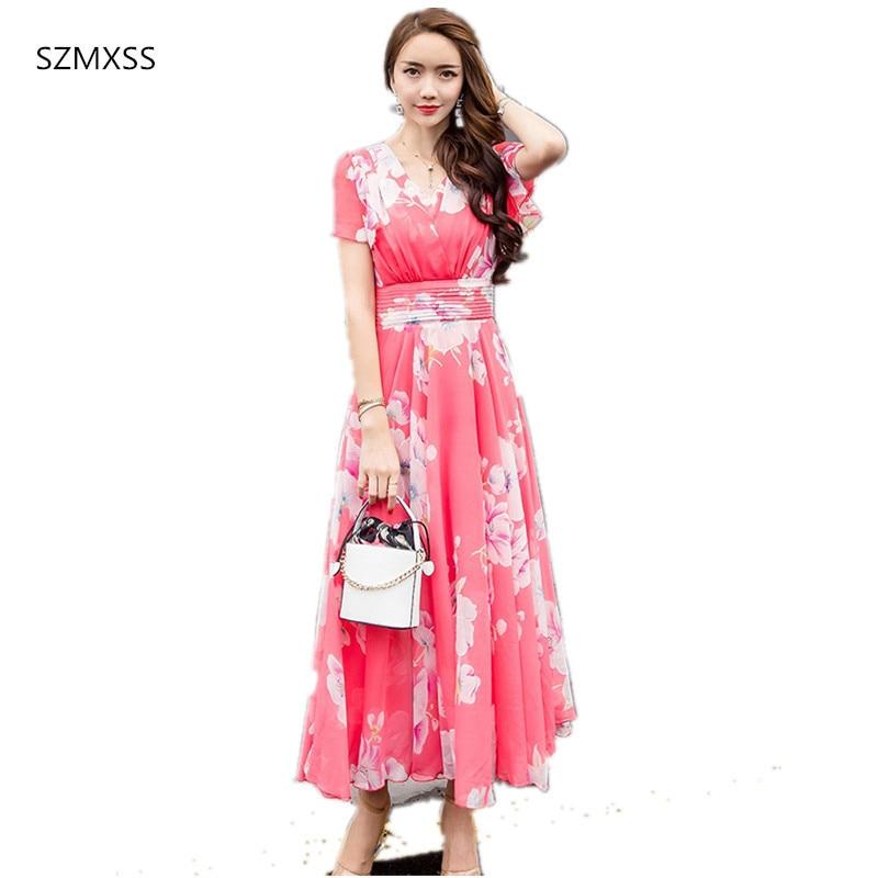 69f12f0a1df11 Summer Maxi Dresses Womens 2018 Short Sleeve White Red Froral Bohemian Boho  Beach Chiffon Long Dress Plus Size 4XL 5XL Vestidos