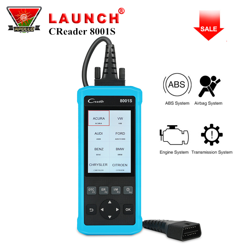 Launch X431 Creader 8001S OBD2 Code Reader 4 Systems Full OBDII Function CR8001S Auto Car Diagnostic Tool Oil EPB SAS BMS ResetLaunch X431 Creader 8001S OBD2 Code Reader 4 Systems Full OBDII Function CR8001S Auto Car Diagnostic Tool Oil EPB SAS BMS Reset