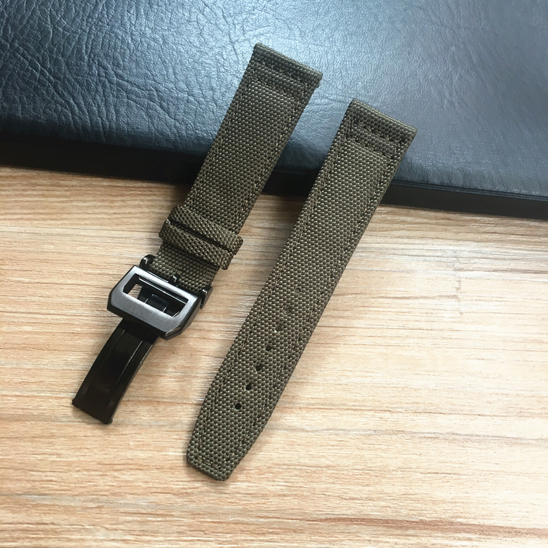 Image 5 - MERJUST 20mm 21mm 22mm Green Black Nylon Leather Watch Strap Canvas Watch band  For IWC PORTUGIESER CHRONOGRA Mark Bracelet-in Watchbands from Watches