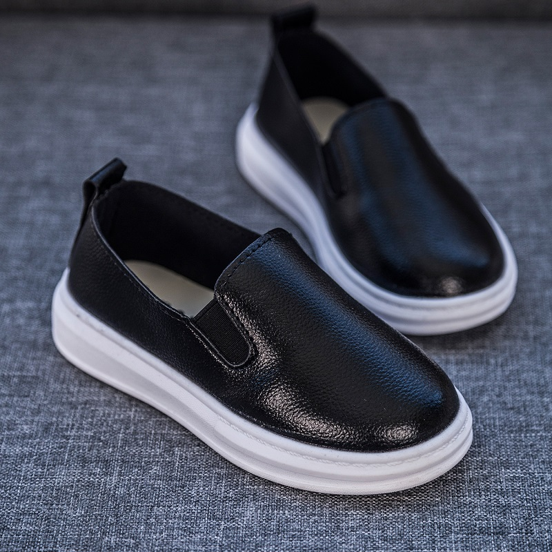 25% Spring Autumn Children Girl Bean Shoes Girls  Boys Pu Shoes Flat Casual Pure Color Shoes 21-37 Q-18 TB03