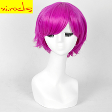 3015 Xi.rocks 12inch Purple Pink Short Curly Hairstyle Cosplay Wigs Synthetic Heat Resistant Shine Wig Fiber Free Shipping цена 2017
