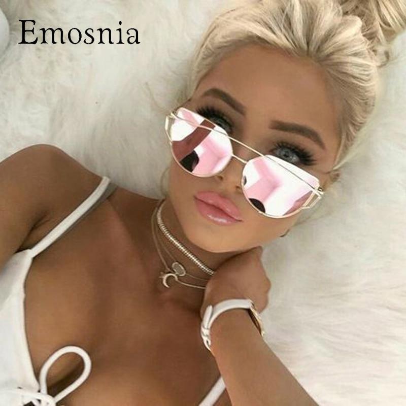 Emosnia Spiegel Cateye Goggle Sonnenbrille Damen Mode Metall Rahmen Rosa Sonnenbrille Frauen Flache Top Marke Design Weibliche Brillen 2018