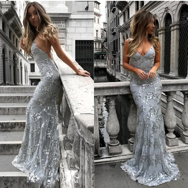 5761aba8b2c Sexy Backless Gray Prom Gowns Deep V-neck Sparkle Sequined Lace Long  Mermaid Formal Party Dresses Summer Abendkleider 2018