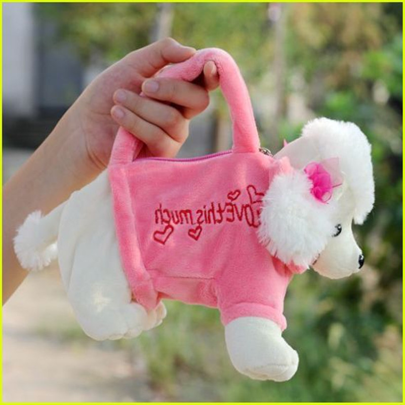 makeup bag gift Cute BearShape Plush Bag Handbag Purse for Pink and Beige Children 's animal cartoon pencil bag Shapi dolls dog super cute plush toy dog doll as a christmas gift for children s home decoration 20