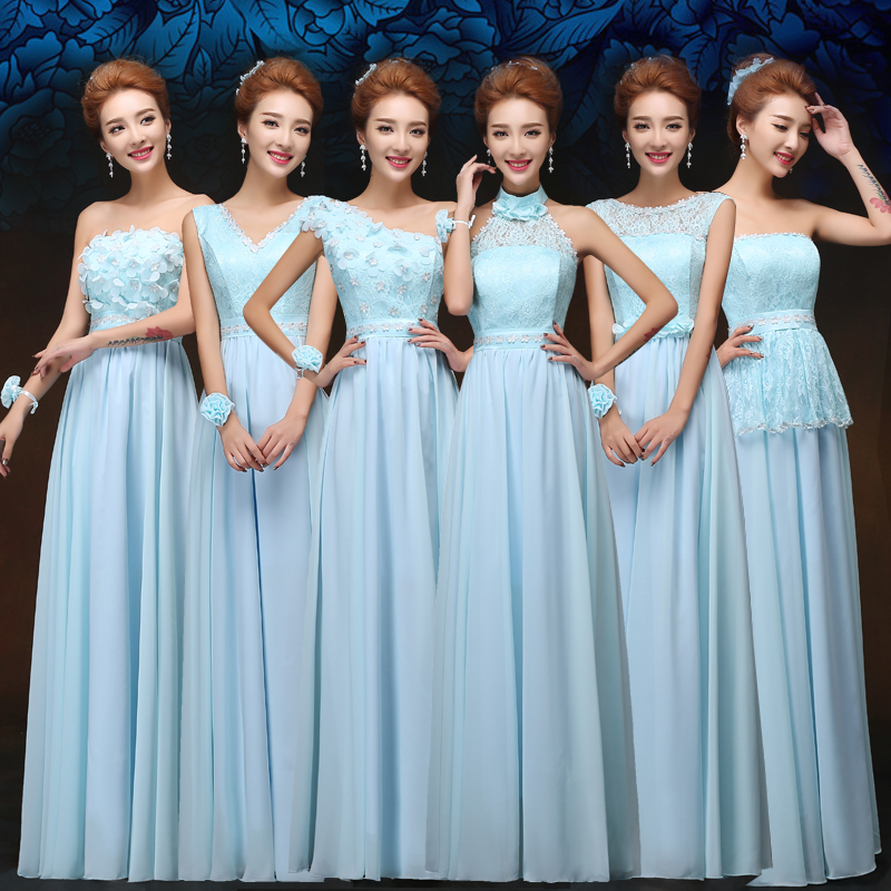 One shoulder Elegant long Bridesmaid Dress Blue chiffon Floor Length Wedding Party Dress Promotional Price