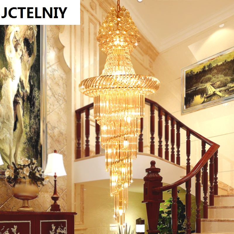 Stair crystal long pendant light stair lamp fashion crystal pendant light large free shipping rotating 681 bohemia stair lamp crystal large pendant light