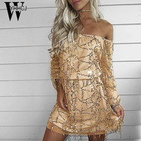 WYHHCJ 2017 New Sexy Off Shoulder Spring And Autumn Dress Long Sleeve Sequins Slash Neck Party