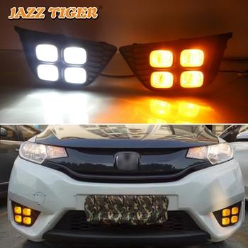 JAZZ TIGER 2PCS Yellow Turn Signal Function 12V Car DRL Lamp LED Daytime Running Light Daylight For Honda Jazz Fit 2014 - 2017