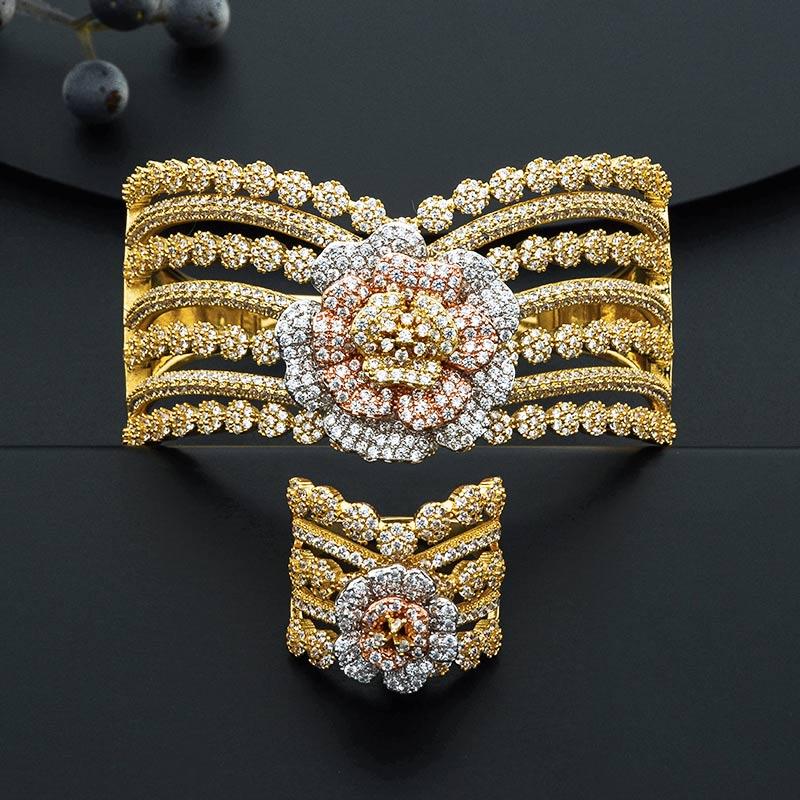 ModemAngel Fashion Luxury Super Boom Flowers Bracelet Bangle And Ring Set For Women Engagement Wedding Party