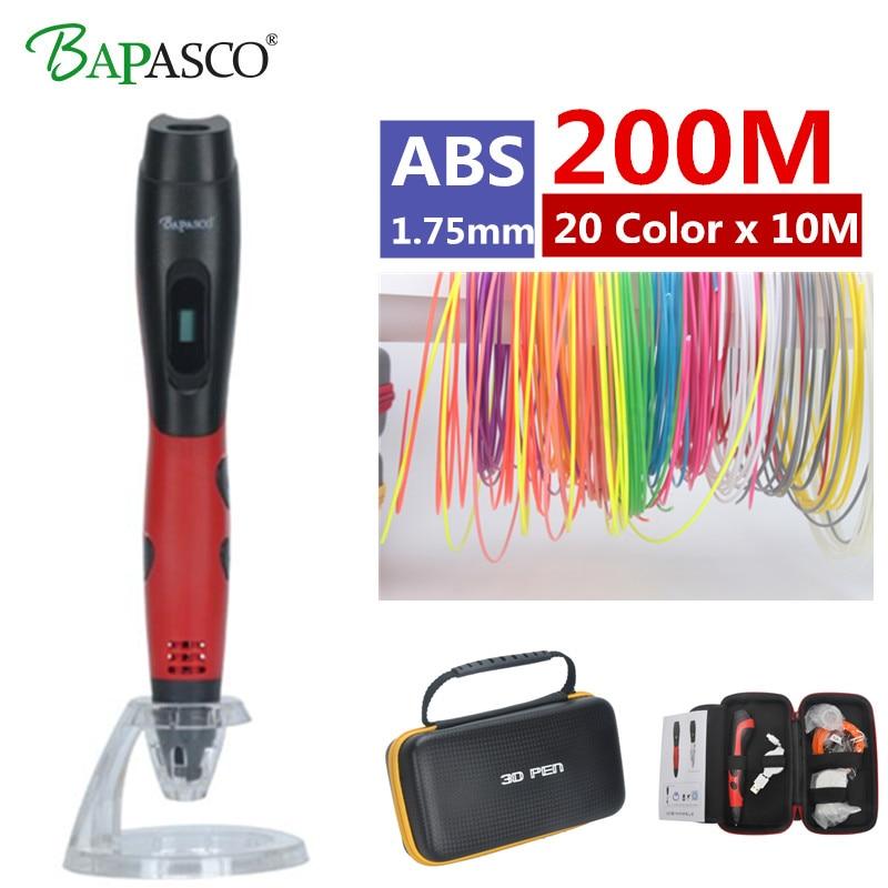 2018 Originale Bapasco BP-04 3D Pen + 2000 Metro (20 Colori) ABS DC 5 V 2A USB Carica 3D Pen Stampa Kids 'Migliore Educativi Articoli da regalo