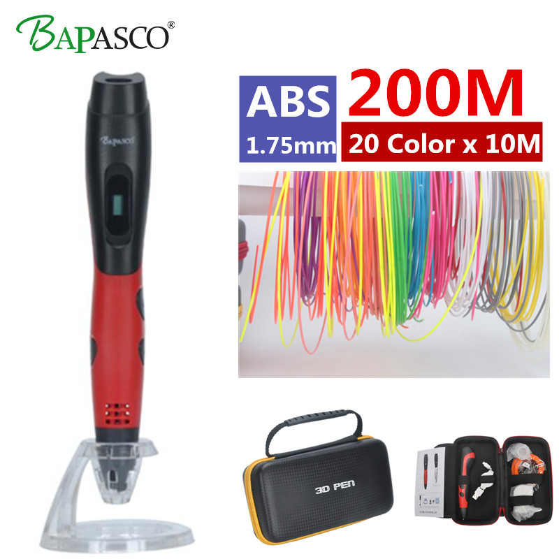 New Arrival 3D Pen BAPASCO BP-04 3d printing Pen Add 50/100/200 Meter ABS Material Drawing Pen 3D Model For Kids Best diy Gifts new arrival 3d printing pen with 100m 10 color or 200 meter 20 color plastic pla filaments 3 d printer drawing pens for kid gift