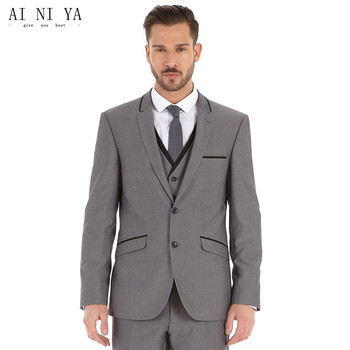 Custom Made Groom Tuxedo Gray Suit Notch Lapel Best man Groomsman Men Wedding Prom Suits Bridegroom Jacket+Pant+Vest