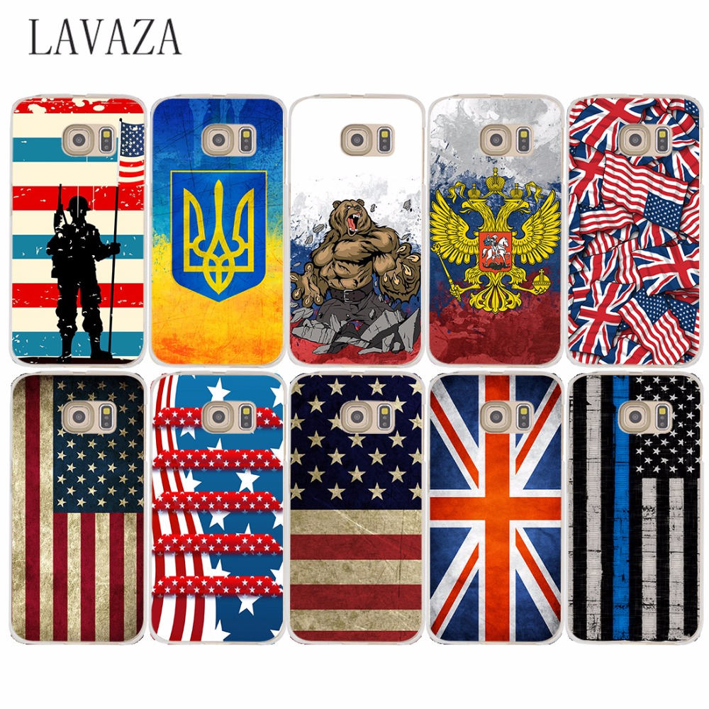 973O Hard Case Cover for Samsung Galaxy S6 S7 Edge S8 Plus S2 S3 S4 S5 & Mini case Ukraine & America & Russia Flag