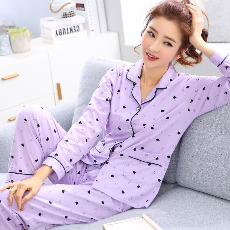 Woman Spring Autumn Lady   Pajamas     Sets   Purple Casual Turn-Down collar Long Sleeve Pants Cotton Sleepwear Leisure Home Wear   Set