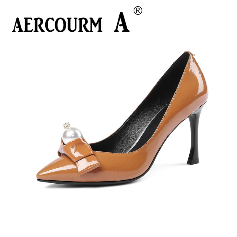 Aercourm A 2018 Women Patent Leather Shoes Pumps Ladies Dress Solid Shoes Square Super High Heel 34-43 Women Pearl Shoes MLD3163 aercourm a 2018 women black fashion shoes female bright genuine leather shoes pearl high heel pumps bow brand new shoes z333