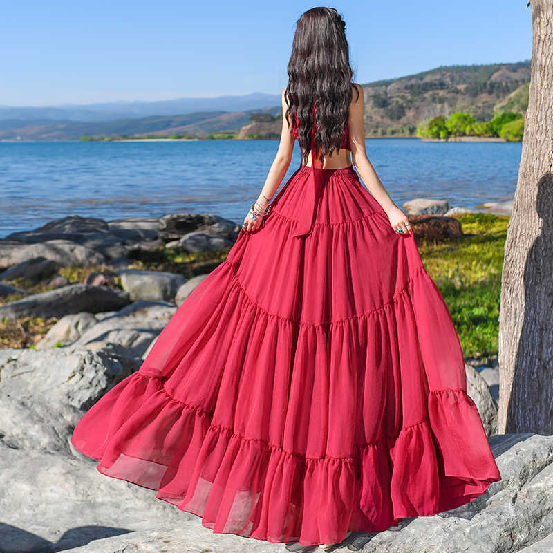 Бесплатная доставка, новинка 2019, Модное Длинное Макси летнее богемное шифоновое цельное сексуальное красное платье с оборками, S-L платье для шоу