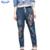 2017 Parche Bordado de Flores Pantalones Vaqueros MM de Grasa Más Tamaño Suelta pantalones harén Pantalones de Mezclilla Elástica Pantalones Vaqueros de Cintura Alta Mujeres de La Manera Azul pantalones