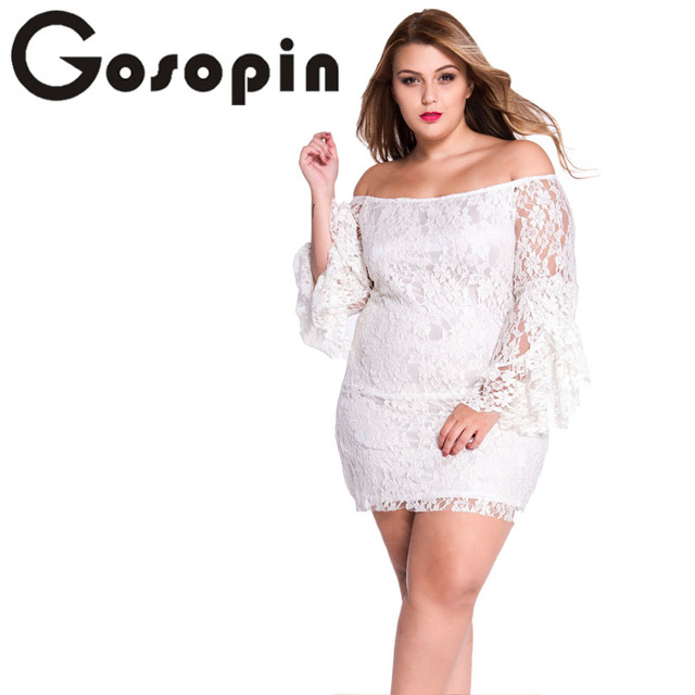 1db4558492fc Gosopin Hot Selling Hollow Out Ladies Cream Lace Off-The-Shoulder Mini Dress  Sexy Autumn Women vestido de praia 2017 LC2809