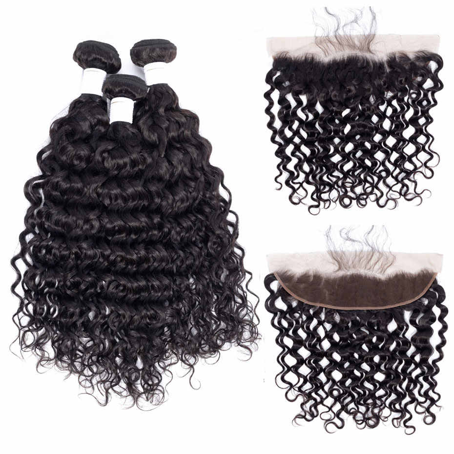 Clover Leaf 100% Brazilian remy human hair Water wave 3 bundles with lace frontal 13X4 Natural black Pre-plucked hair 10-28inch