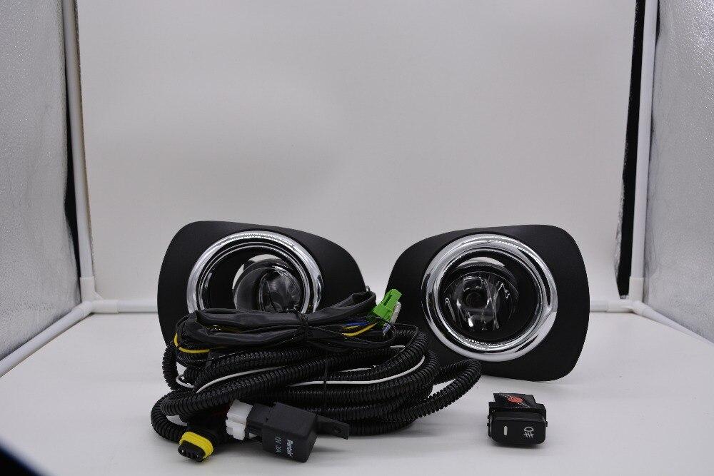 eOsuns гало противотуманные фары с проводами жгут проводов, выключатель, противотуманная фара доме и рамкой полный комплект для Мицубиси Паджеро спорт 2010-14