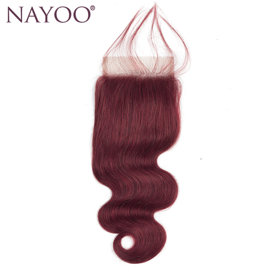NAYOO 99J Middle Part Closure Body Wave Burgundy Brazilian Hair Weave 4*4 Closure 10-20 Non Remy Human Hair