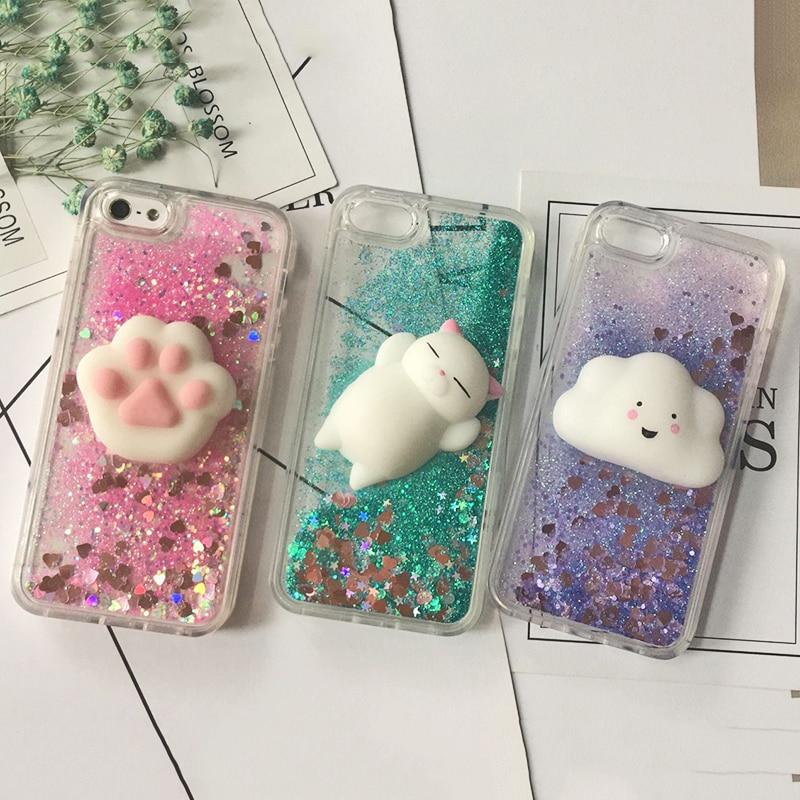 3D Squishy Cat Case For iPhone 5S SE 7 7 Plus Case Liquid Quicksand Glitter Silicone