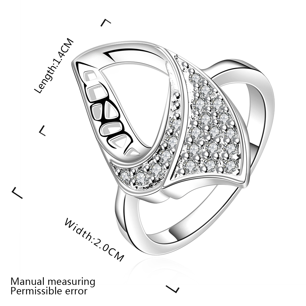 Really hot selling pure silver fashion jewelry geometry zircon simple beautiful ladies ring valentines day gift free shipping