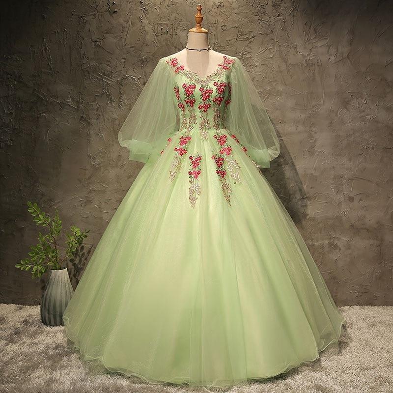 19 siècle Vert Rose Noir Guerre Civile Southern belle Robe Robe de Marie Antoinette Robe Victorienne robes