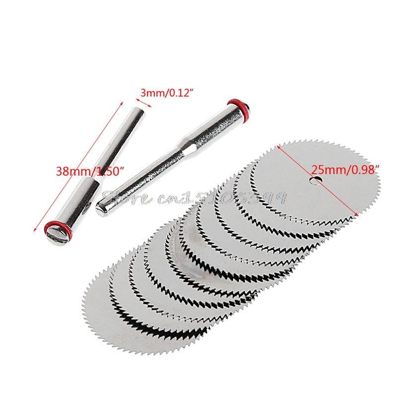 10Pcs 25mm Wood Cutting Circular Saw Blade Disc + 2Pcs Rod Rotary Cutting Tool G08 Whosale&DropShip