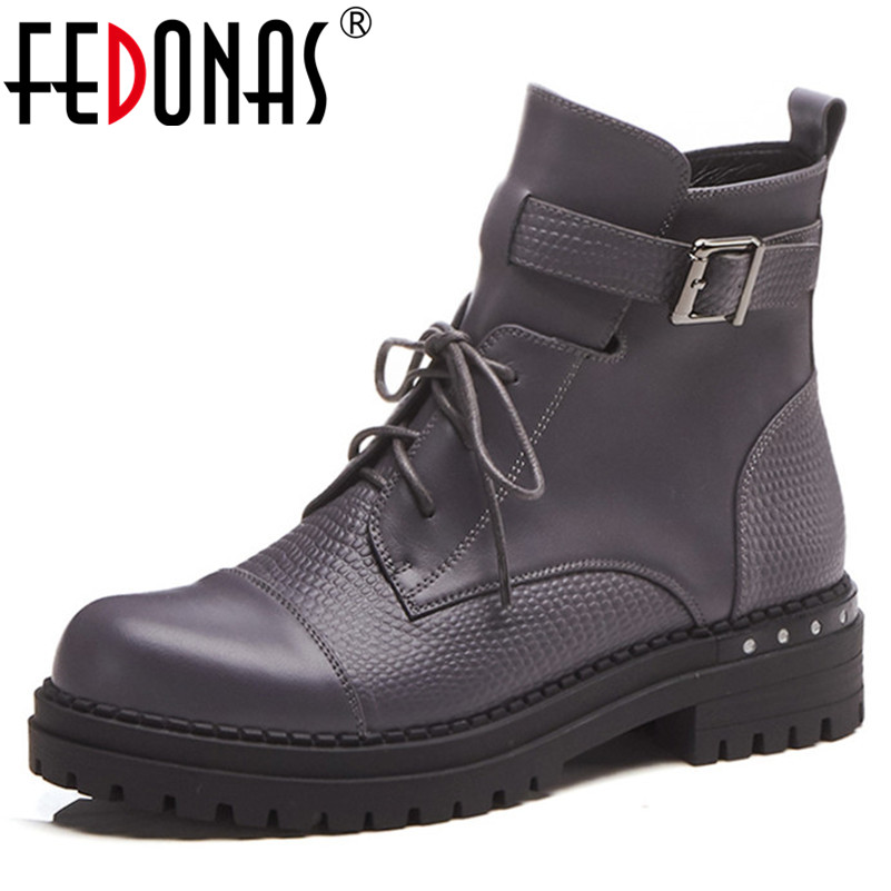 FEDONAS 2018 Punk Women Genuine Leather Thick High Heeled Ankle Boots Zipper Autumn Winter Martin Shoes Woman Motorcycle Boots women martin boots 2017 autumn winter punk style shoes female genuine leather rivet retro black buckle motorcycle ankle booties