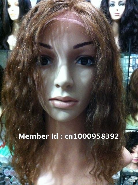 100% discount top quality Virgin Brazilian Remy hair curly glueless lace front wigs,color 4# Deep wave,