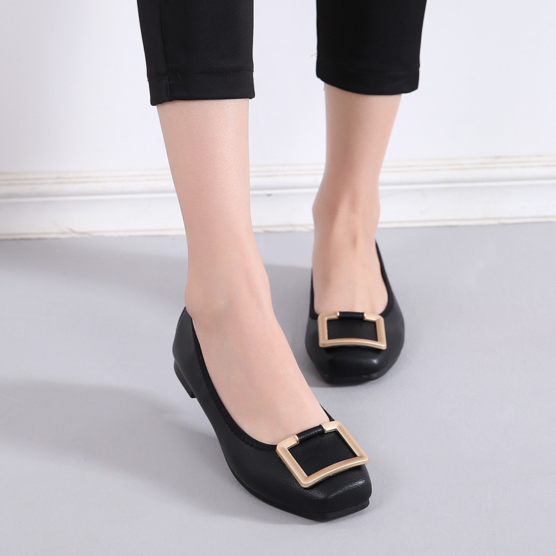 Luxury 2019 New Women Flats Shoes Ballet Flats Square Toe Fashion Casual Shoes Woman Shallow Slip on Soft Bottom High Quality in Women 39 s Flats from Shoes