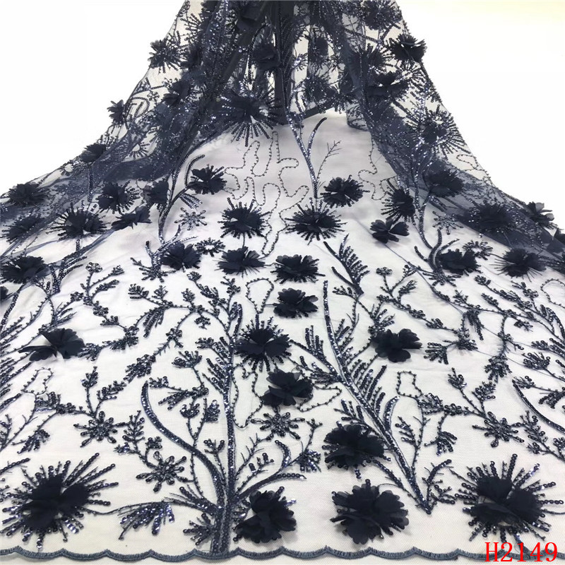 High quality hand made 3D petal beads and sequins lace fabric French lace fabric for high