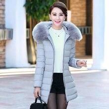 Зимнее пальто женщин в долгосрочной пункта Тонкий толщиной среднего возраста мать загружены вниз куртка куртка женщин