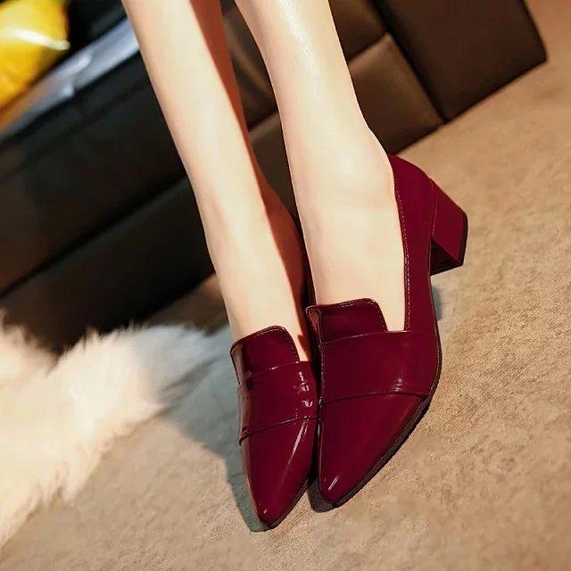 Nouvelle De Sauvage Simples Profonde rose Rouge Noir Sexy Peu Pointu vin Chaussures Bouche Rose Femmes Hauts À Talons rrRnB7Uq