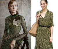Großhandel luxus Green Floral Bedruckte Seidenstoffe kleider tweed scrapbooking günstig drucken satin spitze stoff costura tüll B679